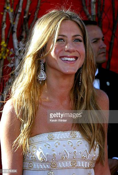 Actress Jennifer Aniston attends the 56th Annual Primetime Emmy Awards on September 19, 2004 at the Shrine Auditorium, in Los Angeles, California.