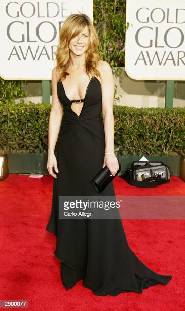Actress Jennifer Aniston attends the 61st Annual Golden Globe Awards at the Beverly Hilton Hotel on January 25 2004 in Beverly Hills California