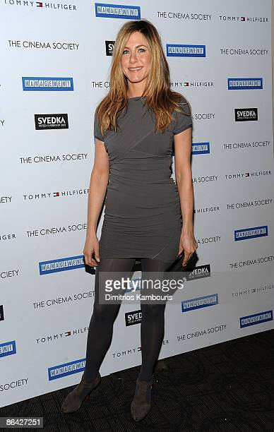 Actress Jennifer Aniston attends The Cinema Society and Tommy Hilfiger with SVEDKA vodka screening of Management at Landmark's Sunshine Cinema on May...