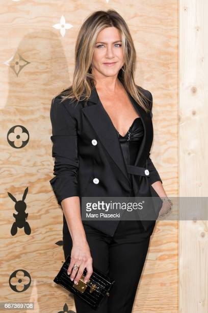 Actress Jennifer Aniston attends the 'Louis Vuitton Masters a collaboration with Jeff Koons' dinner at Musee du Louvre on April 11 2017 in Paris...