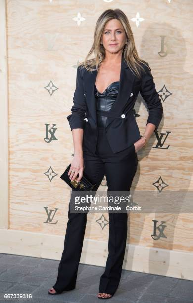Actress Jennifer Aniston attends the Louis Vuitton's Dinner for the Launch of Bags by Artist Jeff Koons at Musee du Louvre on April 11 2017 in Paris...