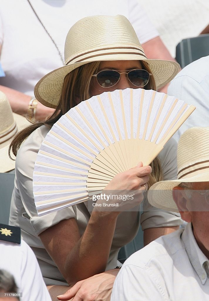 Actress Jennifer Aniston attends the men's singles final between Roger Federer of Switzerland and Rafael Nadal of Spain during the French Open at Roland Garros on June 11, 2006 in Paris, France.