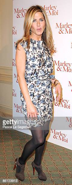 Actress Jennifer Aniston attends the Paris photocall of Marley Me at the Hotel Bristol on February 26 2009 in Paris France