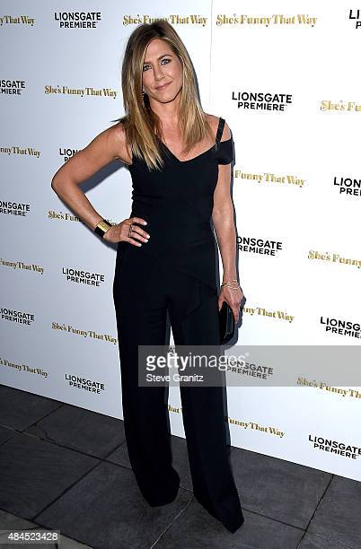Actress Jennifer Aniston attends the premiere of Lionsgate Premiere's She's Funny That Way at Harmony Gold on August 19 2015 in Los Angeles California