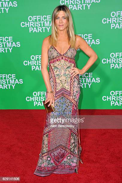 Actress Jennifer Aniston attends the premiere of Paramount Pictures' 'Office Christmas Party' at Regency Village Theatre on December 7 2016 in...