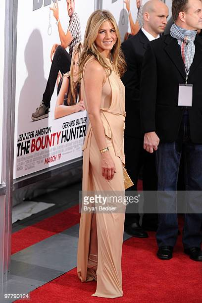 Actress Jennifer Aniston attends the premiere of The Bounty Hunter at Ziegfeld Theatre on March 16 2010 in New York City