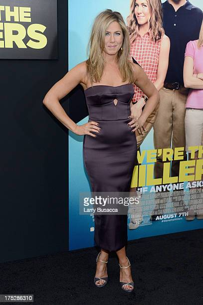 """Actress Jennifer Aniston attends the """"We're The Millers"""" New York Premiere at Ziegfeld Theater on August 1, 2013 in New York City."""