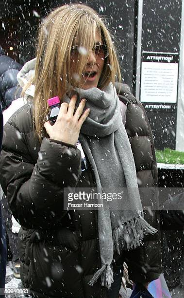 Actress Jennifer Aniston exits the W Las Vegas Residences Lounge at the Village at the Lift on Main Street during the 2006 Sundance Film Festival...
