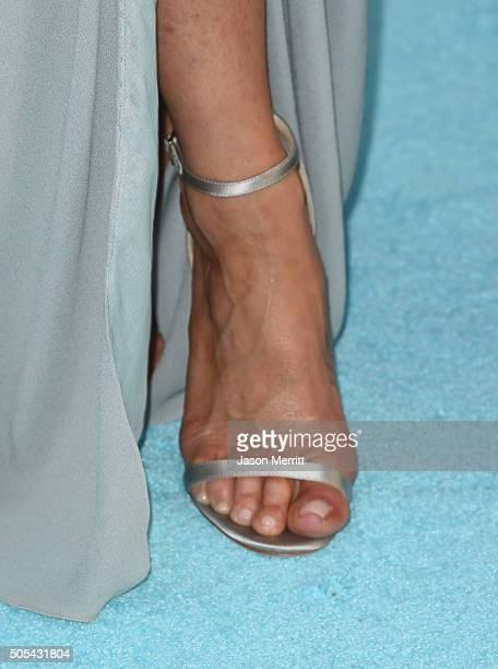 Actress Jennifer Aniston fashion detail attends the 21st Annual Critics' Choice Awards at Barker Hangar on January 17 2016 in Santa Monica California