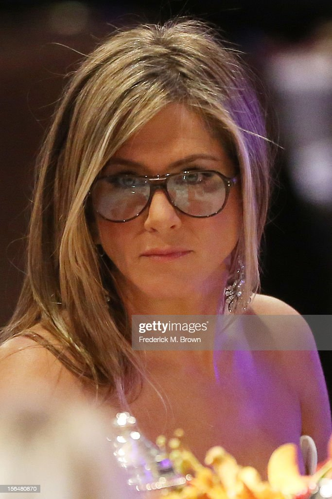 Actress Jennifer Aniston in the audience at the 26th American Cinematheque Award Gala honoring Ben Stiller at The Beverly Hilton Hotel on November 15, 2012 in Beverly Hills, California.