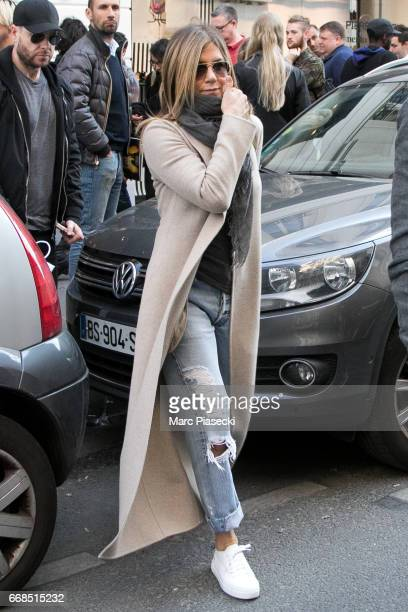Actress Jennifer Aniston is seen leaving the 'Colette' store on April 14 2017 in Paris France