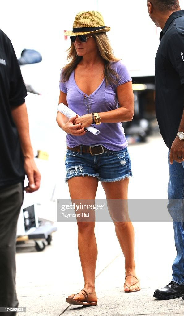 Actress Jennifer Aniston is seen on the set of 'Squirrels to the Nuts'on July 23, 2013 in New York City.