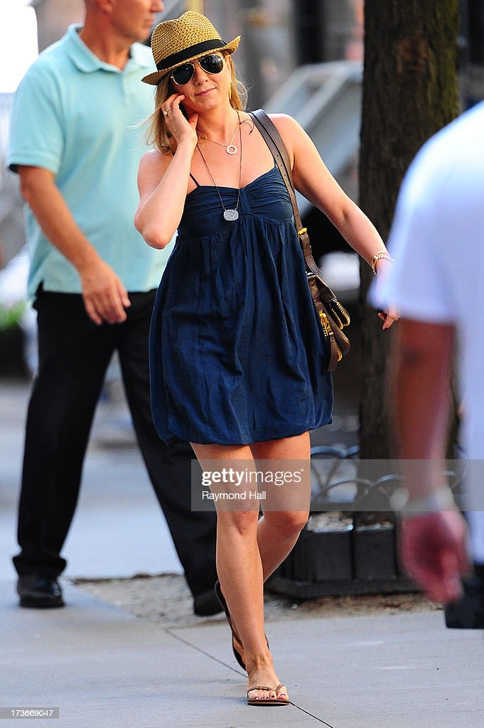 Actress Jennifer Aniston is seen on the set of 'Squirrels to the Nuts' on July 16, 2013 in New York City.