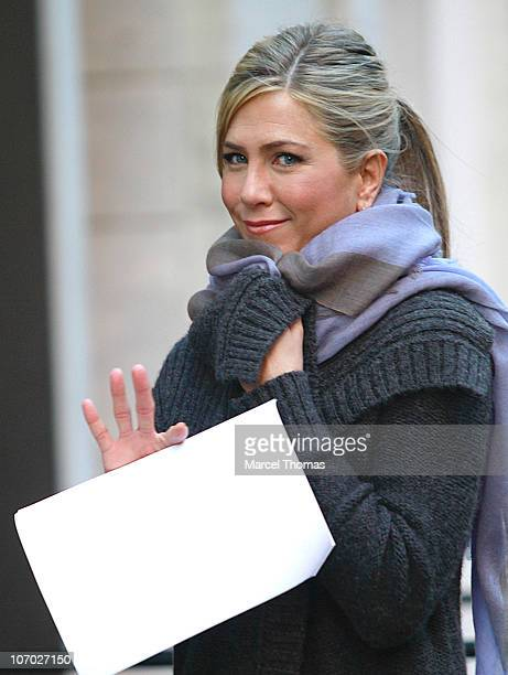 Actress Jennifer Aniston is seen on the set of the movie 'Wanderlust' on location on the Streets of Manhattan on November 19 2010 in New York City