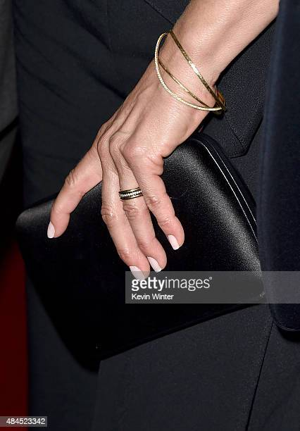 Actress Jennifer Aniston jewelry detail attends the premiere of Lionsgate Premiere's 'She's Funny That Way' at Harmony Gold on August 19 2015 in Los...
