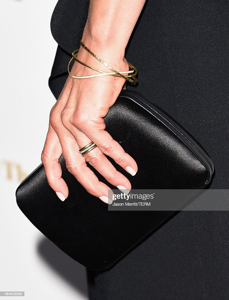 Actress Jennifer Aniston, jewelry detail, attends the premiere of Lionsgate Premiere's 'She's Funny That Way' at Harmony Gold on August 19, 2015 in Los Angeles, California.