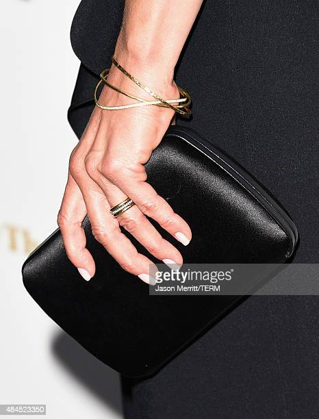 Actress Jennifer Aniston jewelry detail attends the premiere of Lionsgate Premiere's She's Funny That Way at Harmony Gold on August 19 2015 in Los...