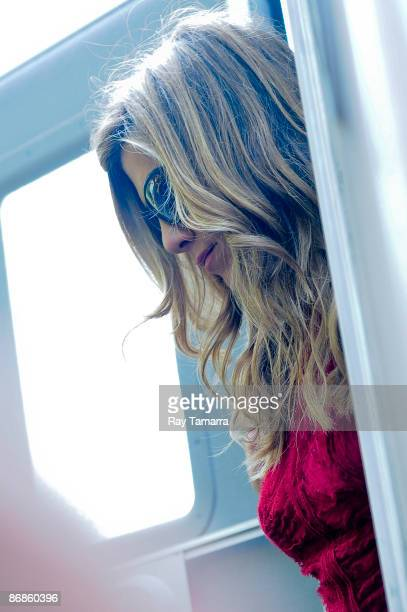 Actress Jennifer Aniston leaves her trailer on The Baster film set on the Upper West Side on May 08 2009 in New York City