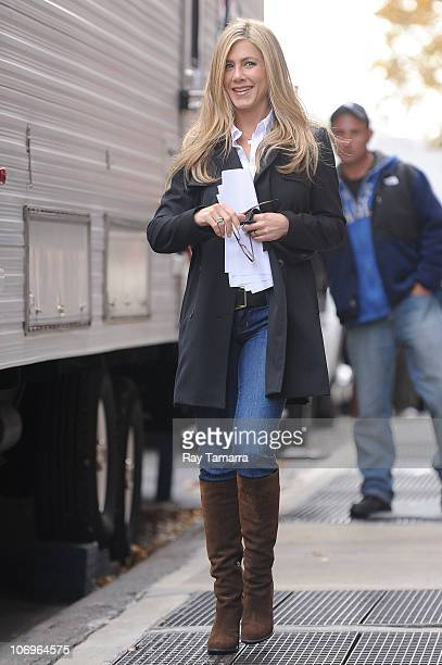 Actress Jennifer Aniston leaves her trailer on the Wanderlust movie set in the West Village on November 18 2010 in New York City