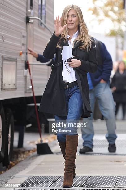 Actress Jennifer Aniston leaves her trailer on the 'Wanderlust' movie set in the West Village on November 18 2010 in New York City