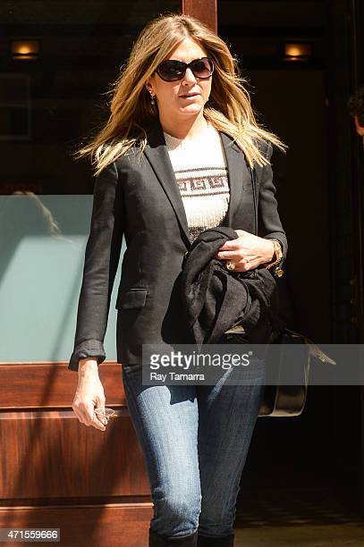 Actress Jennifer Aniston leaves her Tribeca hotel on April 29 2015 in New York City