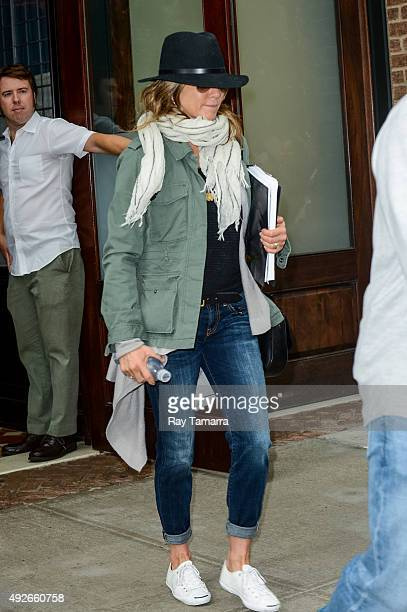 Actress Jennifer Aniston leaves her Tribeca hotel on October 14 2015 in New York City