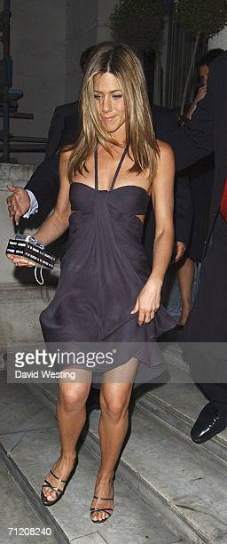 Actress Jennifer Aniston leaves The Break Up after party at W'Sens Restaurant and Bar on June 14 2006 in London England