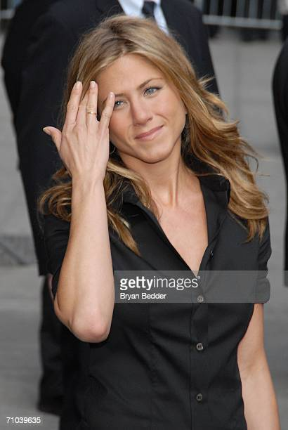 Actress Jennifer Aniston leaves the Ed Sullivan Theater after a taping of the Late Show with David Letterman May 24 2006 in New York City