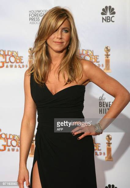 Actress Jennifer Aniston poses backstage in the photo room at the 67th Annual Golden Globe Awards at the Beverly Hilton Hotel in Beverly Hills...