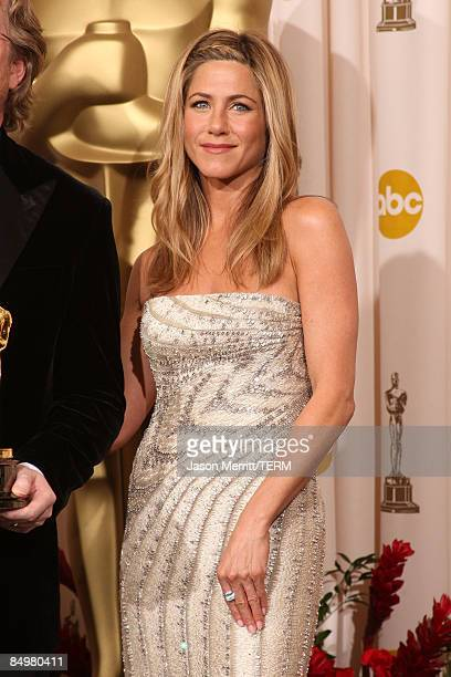 Actress Jennifer Aniston poses in the press room at the 81st Annual Academy Awards held at Kodak Theatre on February 22 2009 in Los Angeles California