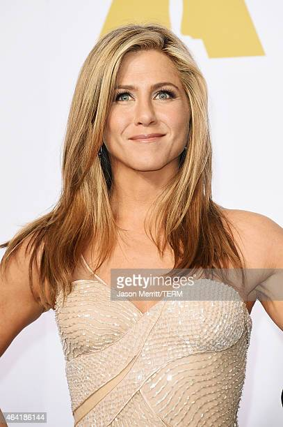 Actress Jennifer Aniston poses in the press room during the 87th Annual Academy Awards at Loews Hollywood Hotel on February 22 2015 in Hollywood...