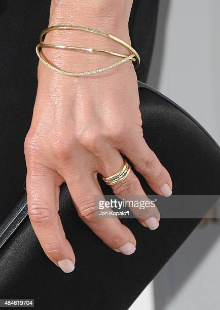 Actress Jennifer Aniston ring detail arrives at the Los Angeles Premiere 'She's Funny That Way' at Harmony Gold on August 19 2015 in Los Angeles...