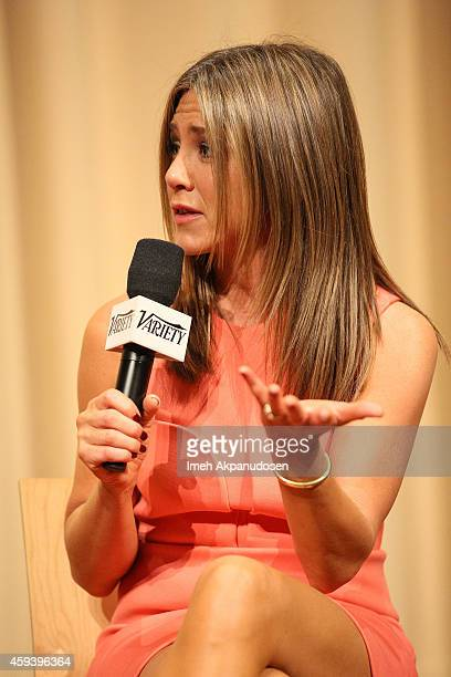Actress Jennifer Aniston speaks onstage during a QA following the screening of 'Cake' during the 2014 Variety Screening Series at ArcLight Hollywood...
