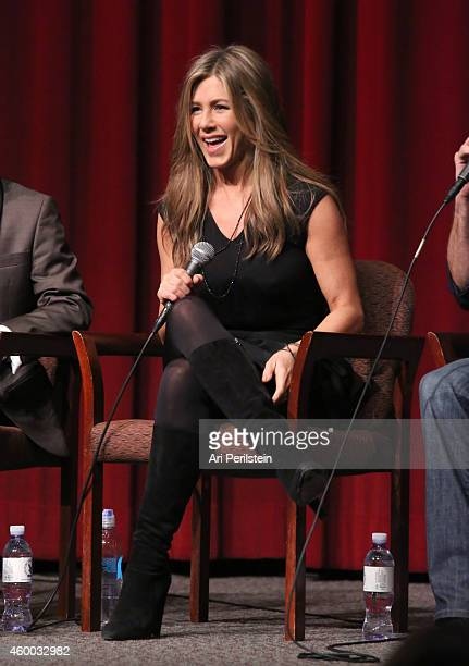 Actress Jennifer Aniston speaks onstage during the CAKE special screening and QA with Jennifer Aniston at Directors Guild Of America on December 5...