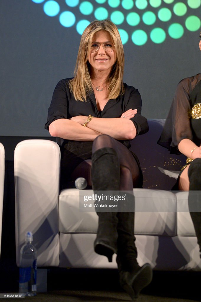 Actress Jennifer Aniston speaks onstage during the 'Stars of Office Christmas Party' panel at Entertainment Weekly's PopFest at The Reef on October 30, 2016 in Los Angeles, California.