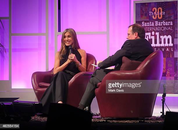 Actress Jennifer Aniston speaks with moderator Pete Hammond at the Montecito Award honoring Jennifer Aniston at the Arlington Theater at the 30th...