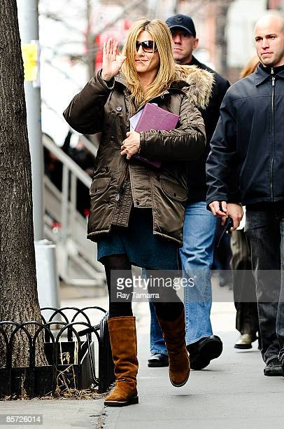 Actress Jennifer Aniston walks to her trailer at The Baster movie set in the West Village on March 30 2009 in New York City
