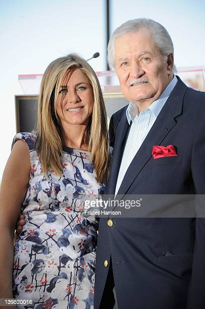 Actress Jennifer Aniston who was honored with a star the the Hollywood Walk Of Fame with her father John Aniston on February 22 2012 in Hollywood...