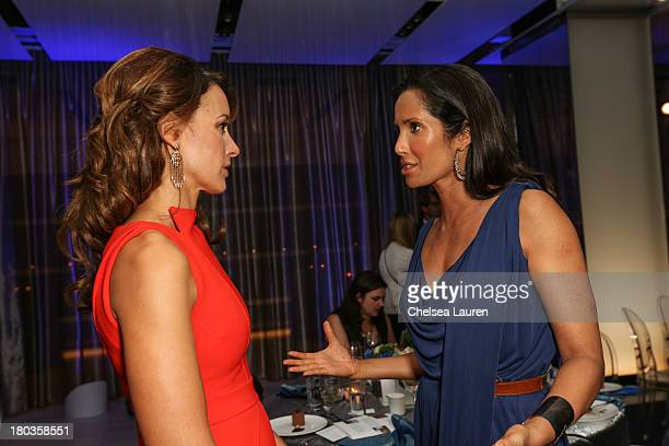 Actress Jennifer Beals and TV personality Padma Lakshmi speak at the 6th annual SELF Magazine's Women Doing Good Awards at Apella on September 11...