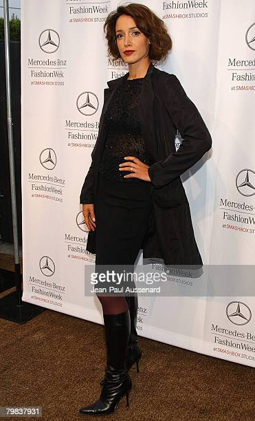 Actress Jennifer Beals arrives at the Spring 2008 Mercedes Benz Los Angeles Fashion Week held at Smashbox Studios on October 15th 2007 in Culver City...