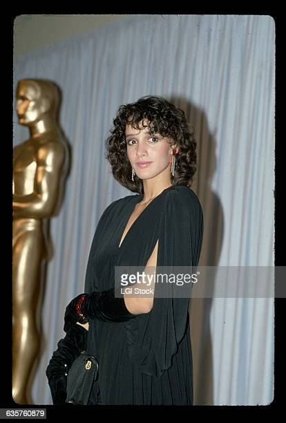 Actress Jennifer Beals attends the Academy Awards in a black gown