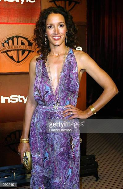 Actress Jennifer Beals attends the InStyle Magazine and Warner Bros Studios post Golden Globe party on January 25 2004 at Palm Court Beverly Hills...