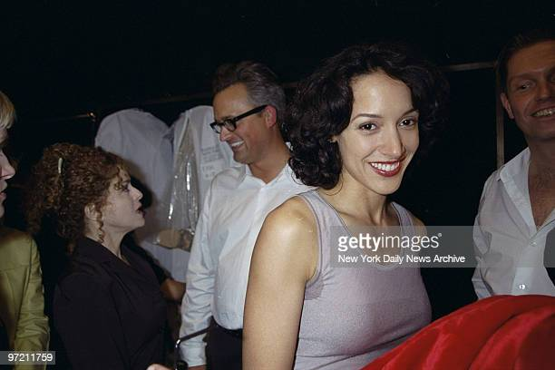 Actress Jennifer Beals is on hand backstage at the Badley Mischka fashion show in Bryant Park In background Mischka chats with actress Bernadette...