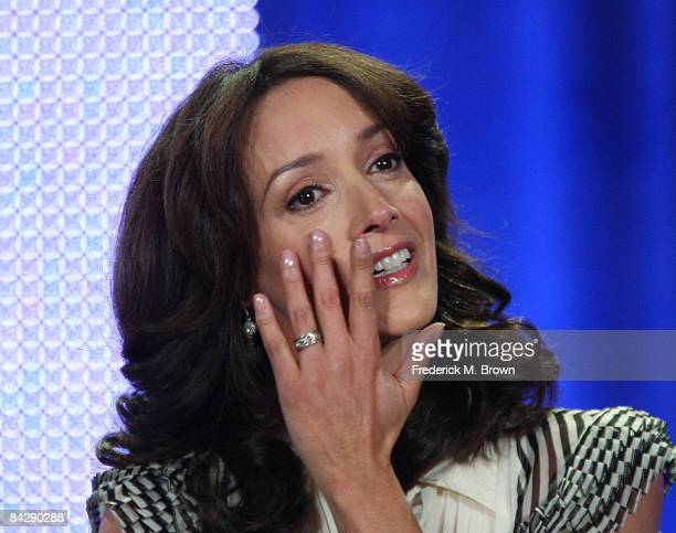 Actress Jennifer Beals of the television show 'The L Word' wipes away a tear during the CBS Showtime portion of the 2009 Winter Television Critics...