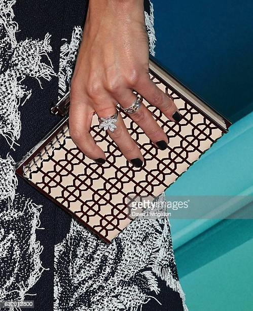Actress Jennifer Beals purse ring detail attends the 2017 NBCUniversal Winter Press Tour Day 2 at the Langham Hotel on January 18 2017 in Pasadena...