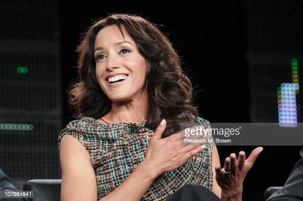 Actress Jennifer Beals speaks onstage during 'The Chicago Code' panel at the FOX Broadcasting Company portion of the 2011 Winter TCA press tour held...