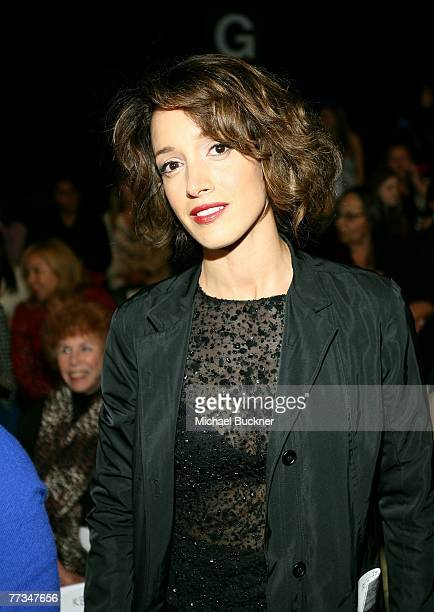 Actress Jennifer Beals stands in the front row at the Kevan Hall Spring 2008 fashion show during Mercedes Benz Fashion Week held at Smashbox Studios...