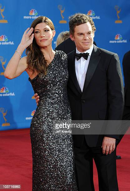 Actress Jennifer Carpenter and husband actor Michael C Hall arrive at the 62nd Annual Primetime Emmy Awards held at the Nokia Theatre LA Live on...