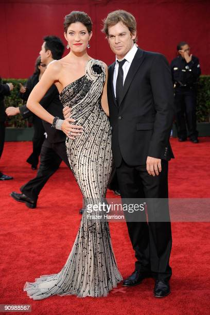 Actress Jennifer Carpenter and husband actor Michael C Hall arrive at the 61st Primetime Emmy Awards held at the Nokia Theatre on September 20 2009...
