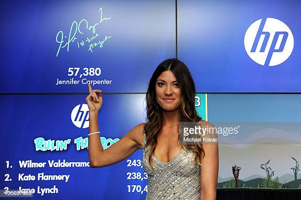 Actress Jennifer Carpenter poses with HP in the HP Touchsmart Gift Lounge backstage at the Nokia Theatre in celebration of The 63rd Primetime Emmy...